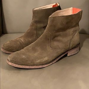 Boden London khaki green suede ankle boots 9